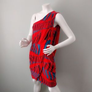 Marc Jacobs Red Tribal Print Jersey Drape Dress S